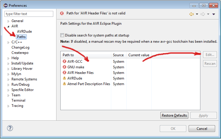 Patch Settings for AVR Eclipse Plugin