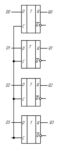 Схема параллельного регистра