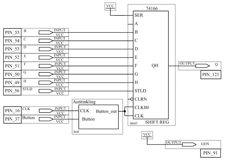 Схема параллельно-последовательного регистра