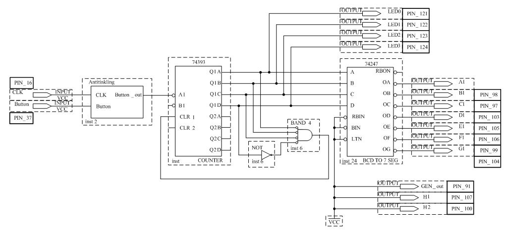 Схема счётчика с модулем счёта