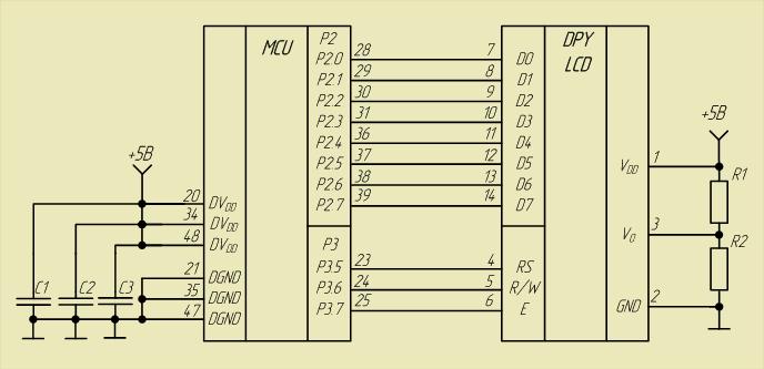 Схема подключения ЖКИ к